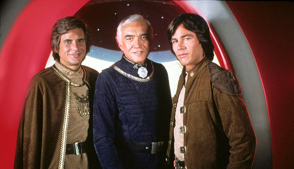 Dirk Benedict, Lorne Greene and Richard Hatch in Battlestar Galactica