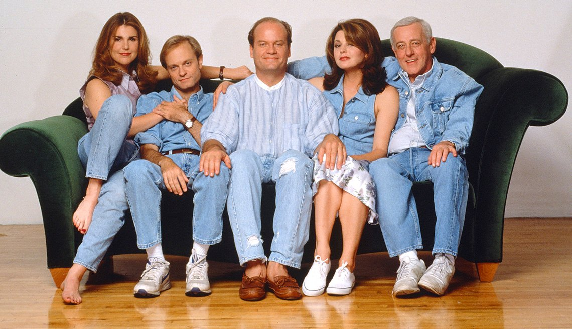 The cast of Frasier: Peri Gilpin, David Hyde Pierce, Kelsey Grammer, Jane Leeves and John Mahoney
