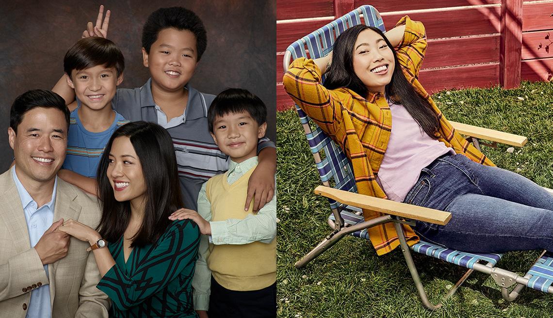 "(De izquierda a derecha) Randall Park, Forrest Wheeler, Constance Wu, Hudson Yang e Ian Chen protagonizan ""Fresh Off the Boat"" y Awkwafina protagoniza ""Awkwafina Is Nora from Queens""."