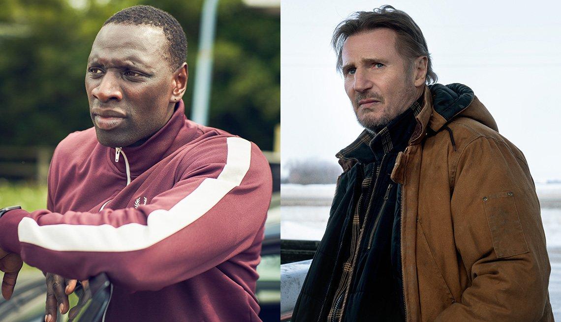 """Omar Sy como Assane Diop en """"Lupin"""" y Liam Neeson como Mike en """"The Ice Road""""."""