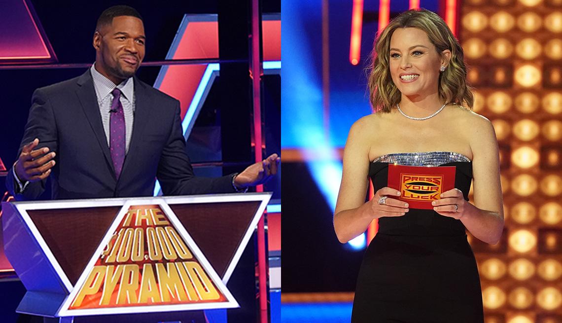 """Michael Strahan (izquierda) presenta """"The $100,000 Pyramid"""" y Elizabeth Banks presenta """"Press Your Luck""""."""