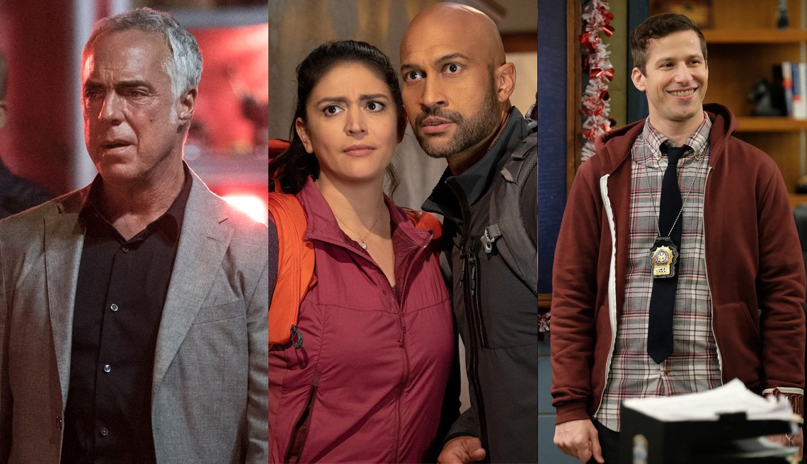 titus welliver as bosch cecily strong and keegan michael key in schmigadoon and andy samberg in brooklyn nine nine