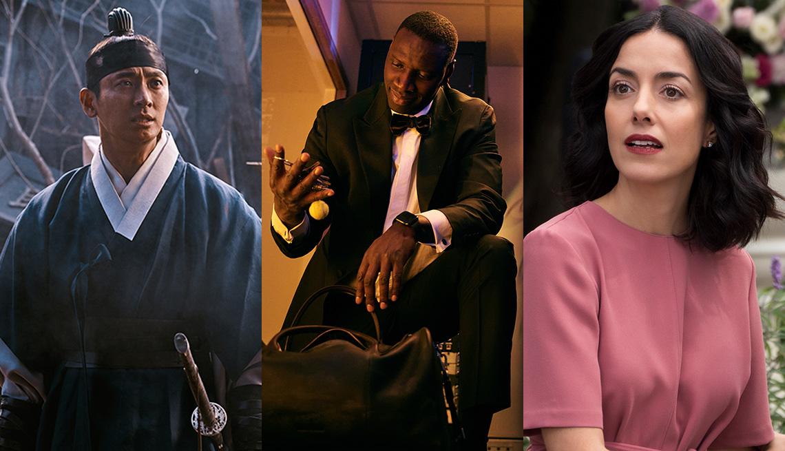 """Ju Ji-Hoon como el príncipe heredero Lee Chang en """"Kingdom"""", Omar Sy como Assane Diop en """"Lupin"""" y Cecilia Suárez como Paulina de la Mora en """"La casa de las flores""""."""