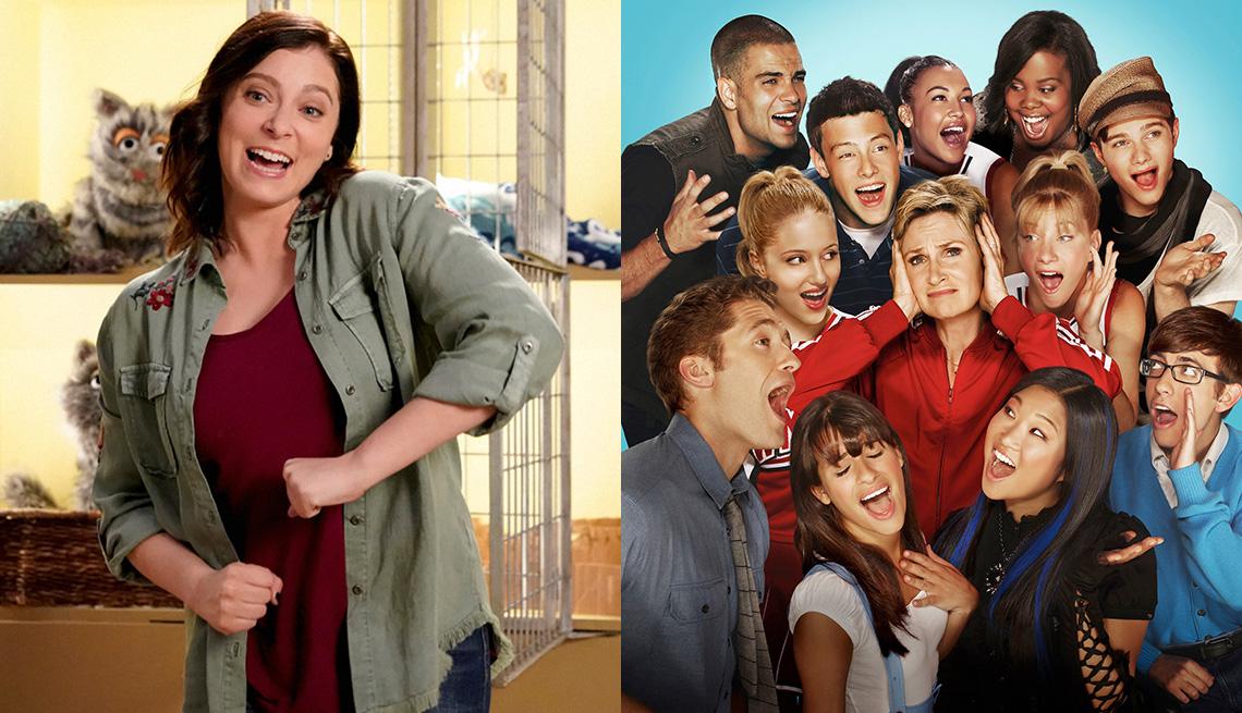 Rachel Bloom in Crazy Ex Girlfriend and the cast of Glee