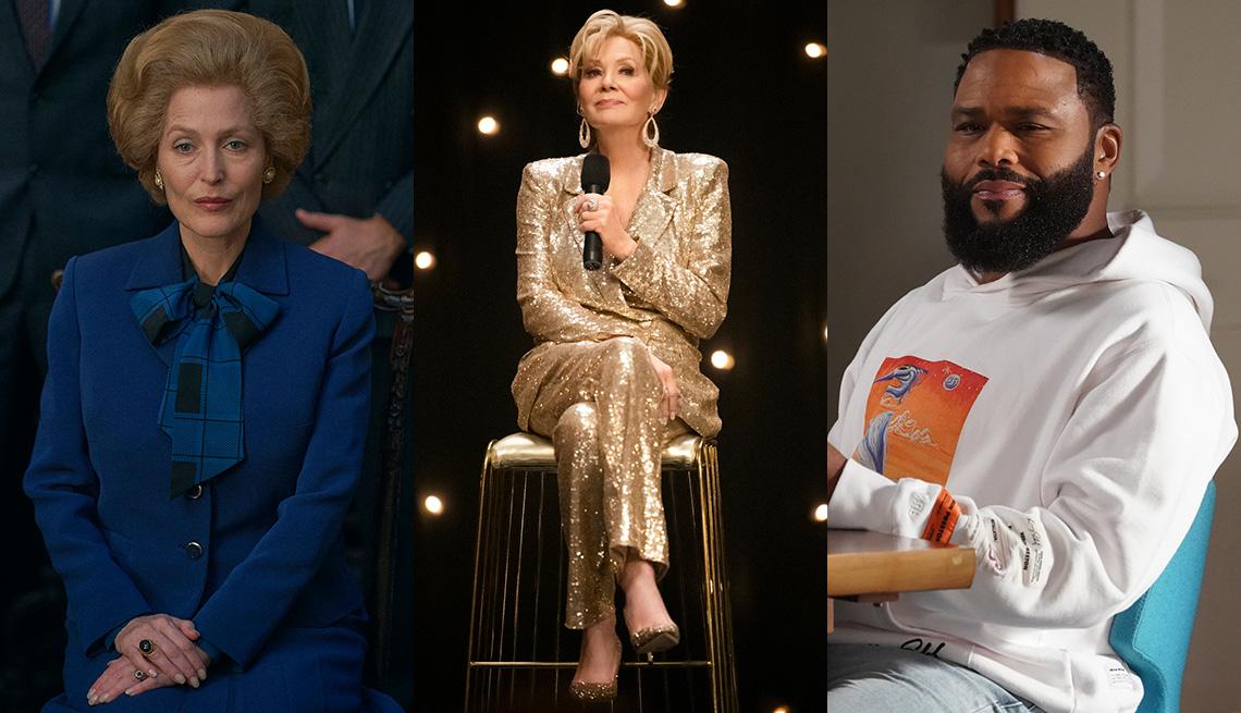 """(De izquierda a derecha) Gillian Anderson en """"The Crown"""", Jean Smart en """"Hacks"""" y Anthony Anderson en """"Black-ish""""."""