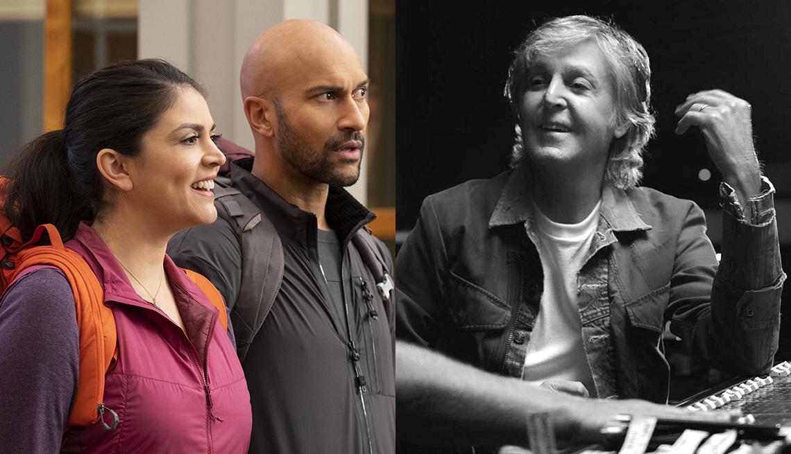 """(De izquierda a derecha) Cecily Strong y Keegan-Michael Key en """"Schmigadoon!"""" y Paul McCartney en """"McCartney 3,2,1""""."""