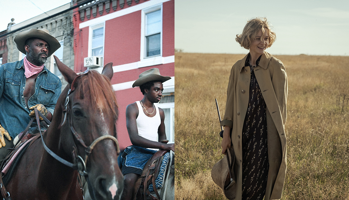 promotional pictures for Netflix shows Concrete Cowboy and The Dig