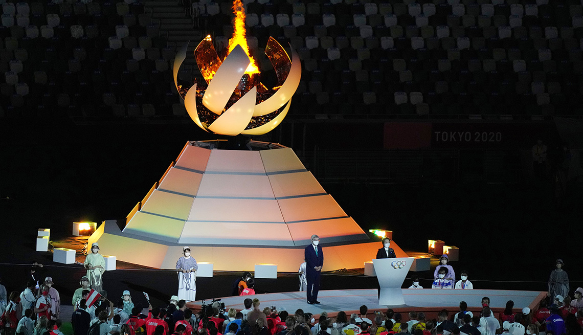 The cauldron at the closing ceremony of Tokyo 2020 Olympic Games