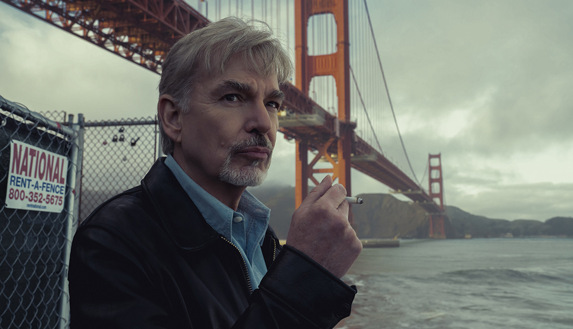 Billy Bob Thornton smoking a cigarette in the TV series Goliath