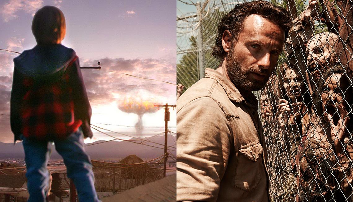 """Un desconcertante hongo nuclear aparece en """"Jericho"""" (izquierda) y Andrew Lincoln interpreta a Rick Grimes en """"The Walking Dead""""."""