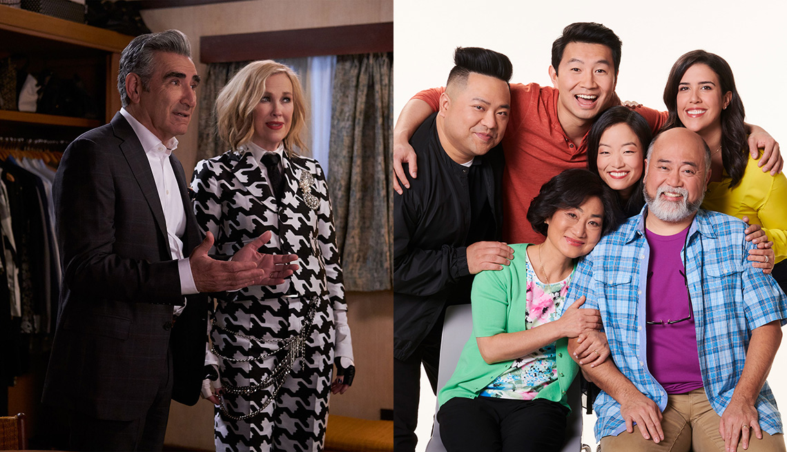 Eugene Levy and Catherine O'Hara of Schitt's Creek and the cast of Kim's Convenience
