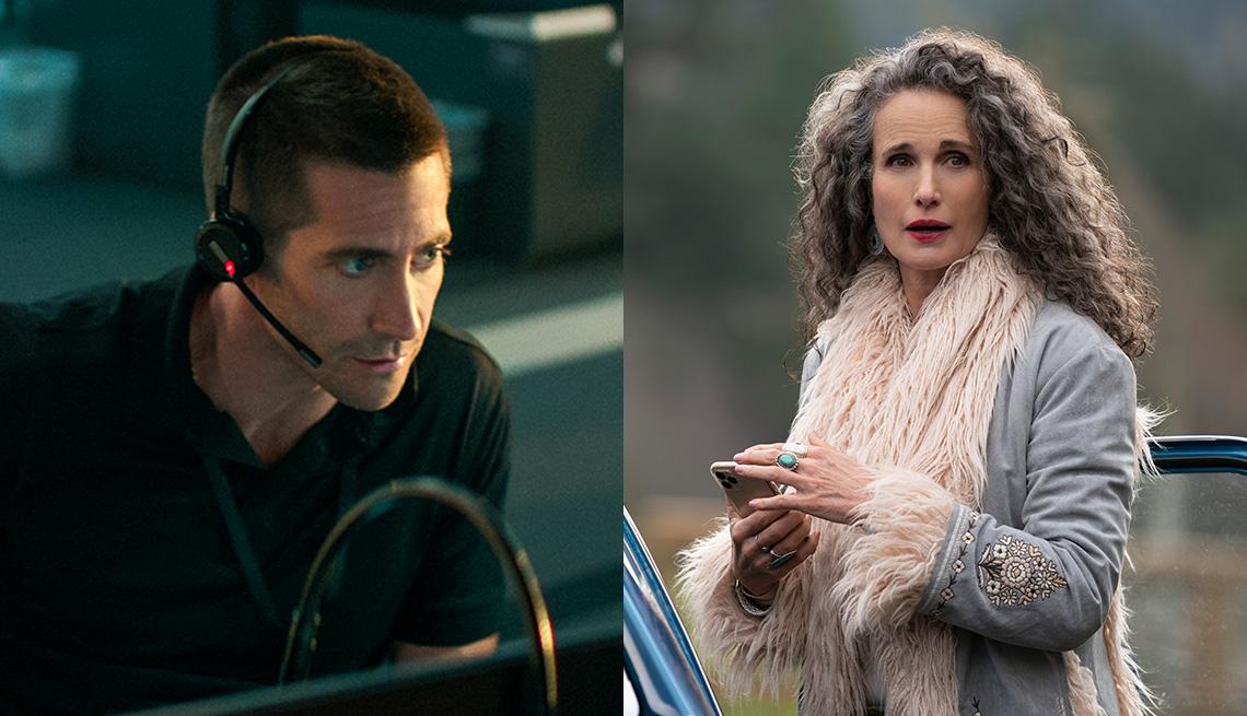 """Jake Gyllenhaal (izquierda) en """"The Guilty"""" y Andie MacDowell en """"Maid""""."""