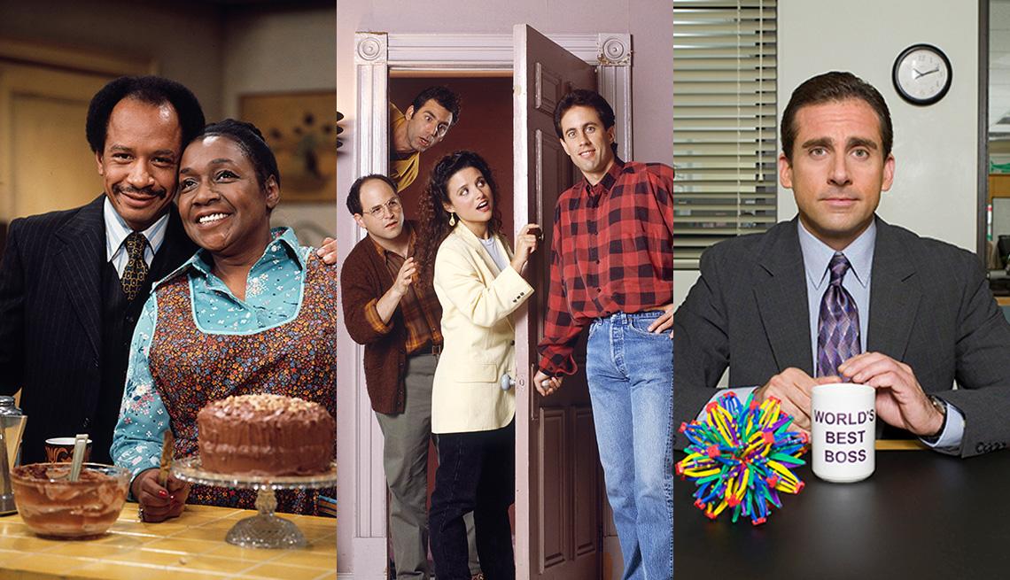 Fotos del reparto de los programas The Jeffersons, Seinfeld y The Office.