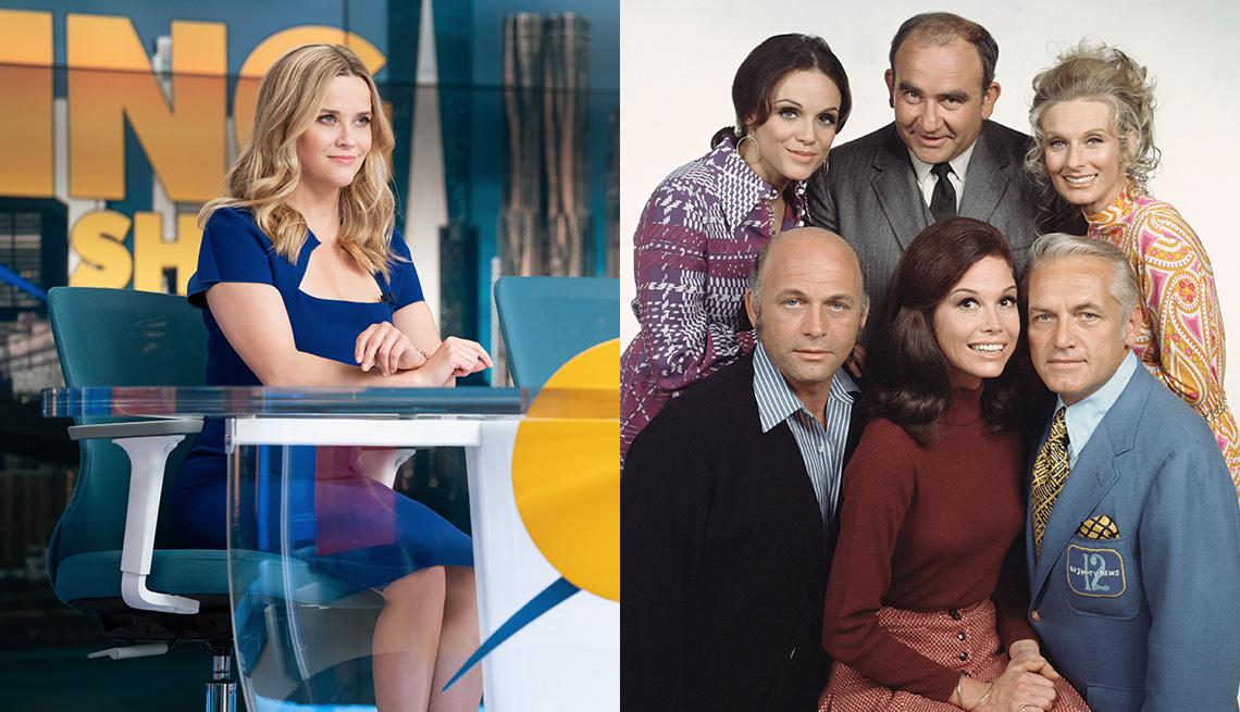 """Reese Witherspoon (izquierda) en """"The Morning Show"""" y el elenco de """"The Mary Tyler Moore Show""""."""