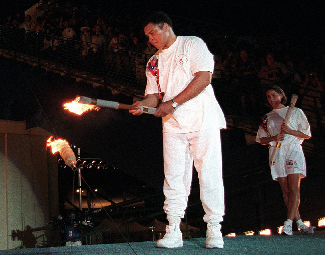 Muhammad Ali lights the Olympic cauldron during the 1996 Summer Olympic Games in Atlanta