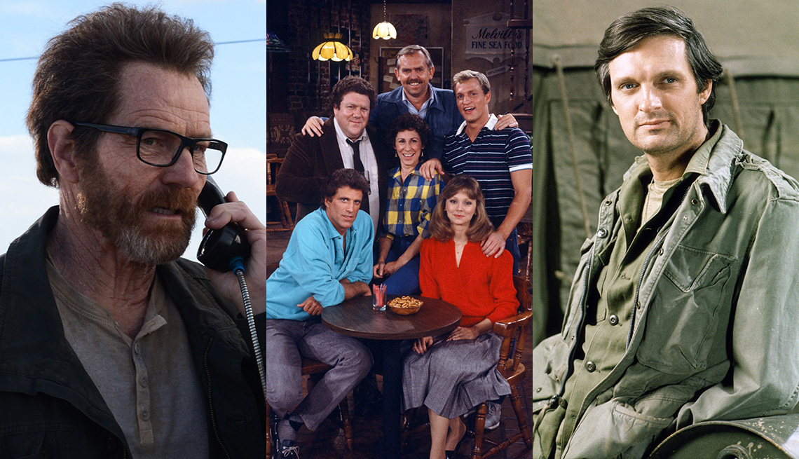 Side by side images of Bryan Cranston in Breaking Bad, the cast of Cheers and Alan Alda in MASH