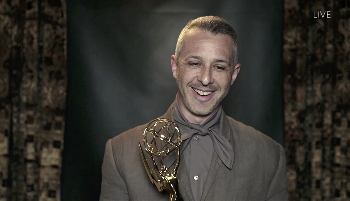 Jeremy Strong holds his Emmy after winning best actor in a drama series at the 72nd Emmy Awards
