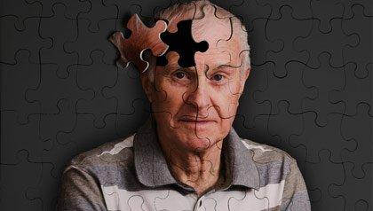Ilustración de la pieza de un rompecabezas de la mente de un hombre, Alzheimer