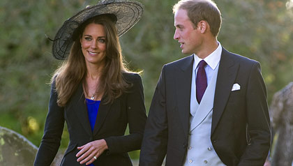 Kate Middleton and Prince William attend Harry Meade & Rosie Bradford's wedding at the Church of St. Peter and St. Paul on October 23, 2010 in Northleach near Cheltenham, England.
