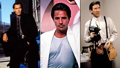 """(L-R) Jimmy Smits in """"NYPD Blue,"""" Don Johnson in """"Miami Vice,"""" and Tim Allen in """"Home Improvement"""""""