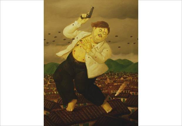 Obra de Fernando Botero sobre la muerte de Pablo Escobar