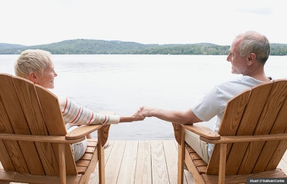 Find best place retire lake mountains chairs dock hands