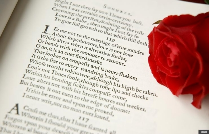 Valentine Day shakespeare love note write prose poem book rose