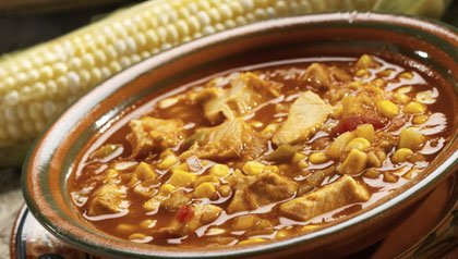 Southwestern Chicken Soup Made with Chicken, Salsa and Corn in a Bowl