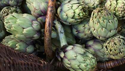 artichokes in a wicker basket