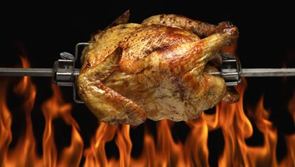 Rotisserie Chicken on Spit over Flames