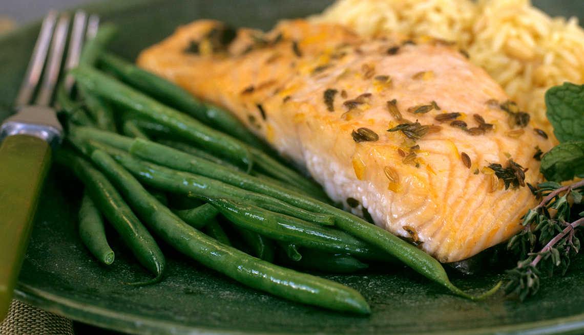 Baked salmon, Green Beans, plate, Chefs Healthy Summer Recipes, AARP, Diet & Nutrition