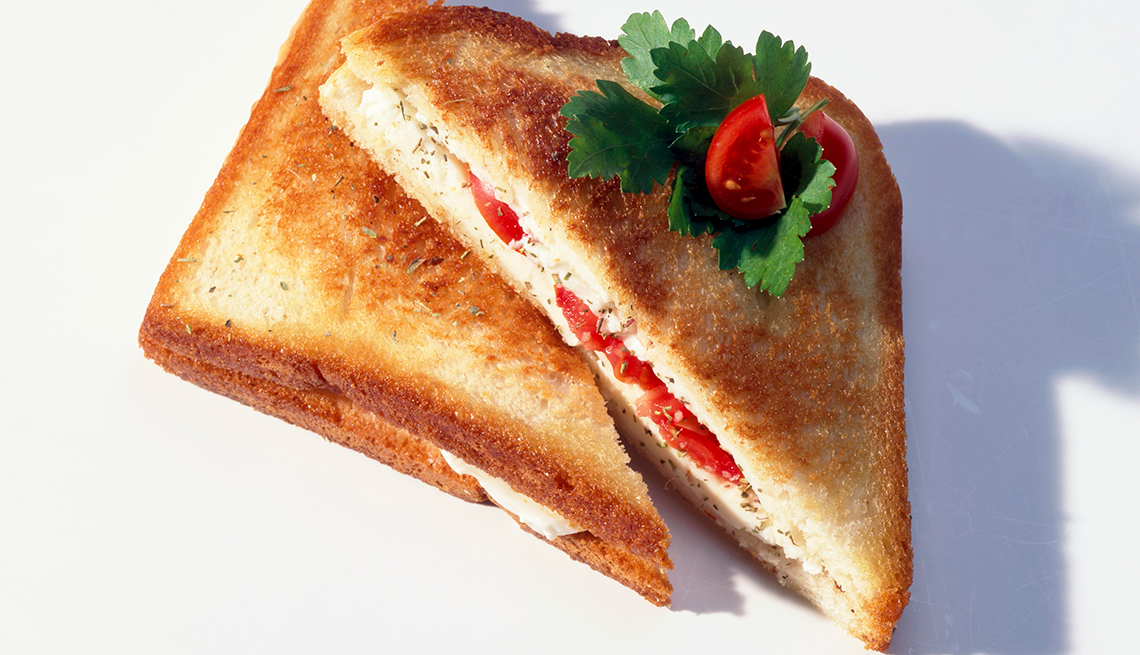 Grilled tomato and cheese sandwich, white background, Chefs Healthy Summer Recipes, AARP, Diet & Nutrition