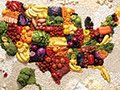 The New American Diet: The Absolutely Most Sensible Way to Lose Weight (Honest).  Map of the USA made out of food.