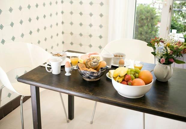 Breakfast on a wooden table