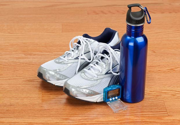 pedometer with running shoes and water