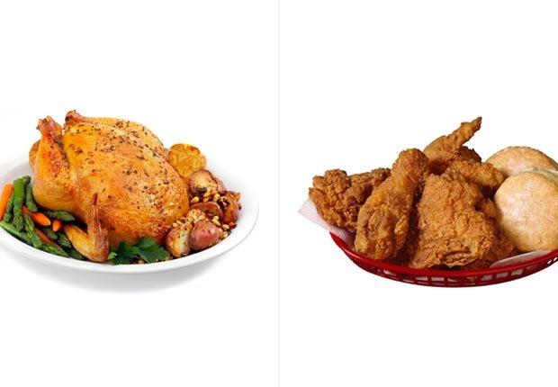 Pollo asado y pollo frito
