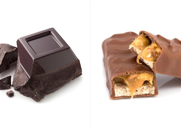 Chocolate oscuro y chocolate con leche