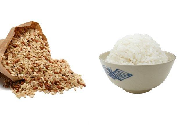 Arroz integral y arroz blanco