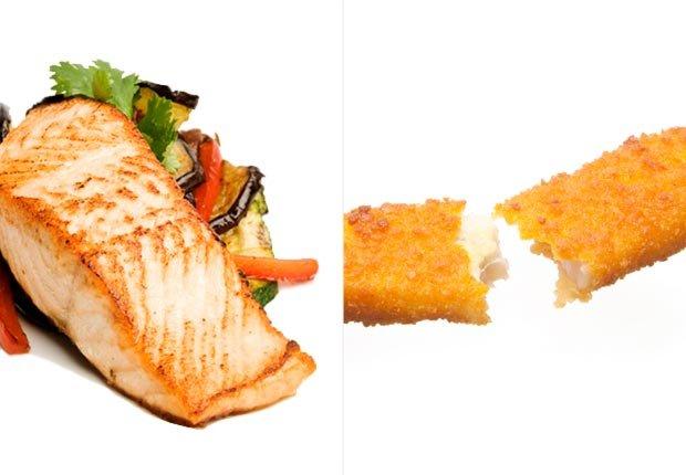 Salmón asado y pescado empanado