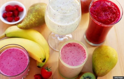 Assorted fruit smoothies, New Years Resolutions Recipes