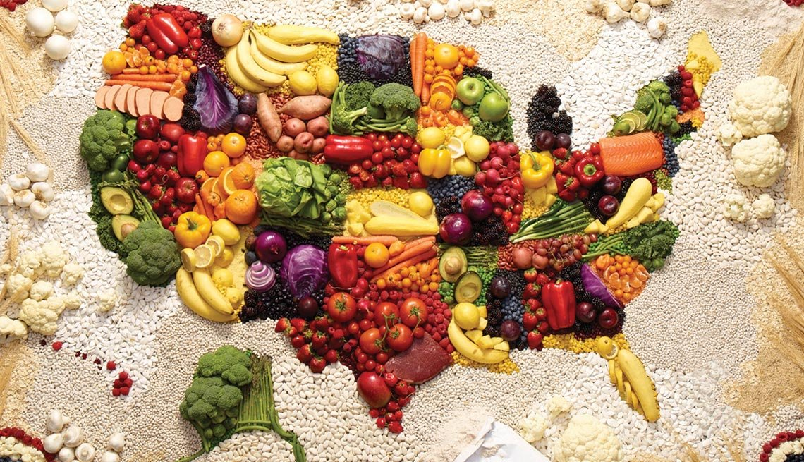 Map Of The United States Made Out Of Foods, New American Diet