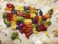 map of the united states made out of foods featured in the New American Diet