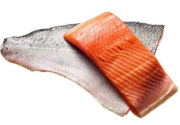 Salmon shot on white