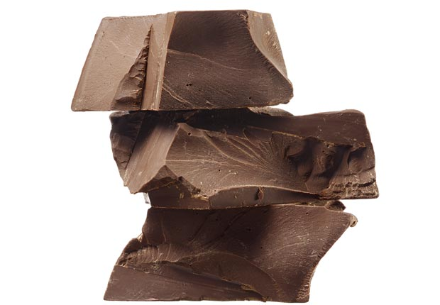 Stack of chunks of dark chocolate