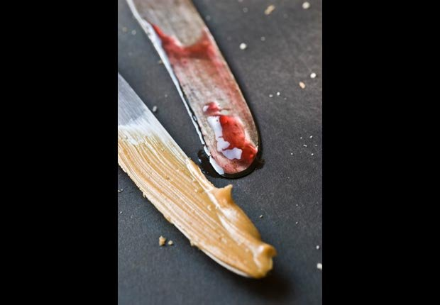 Knives with peanut butter and jelly, calorie dense foods