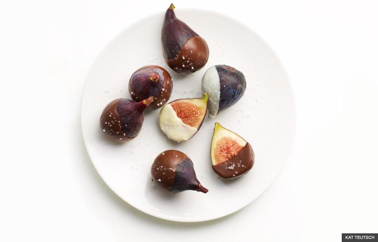 Postre higos con cobertura de chocolate