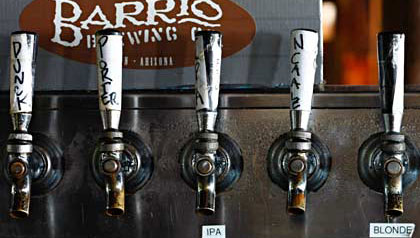 close-up of beer taps