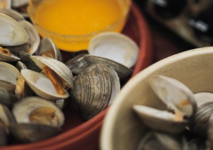 platter of clams with butter