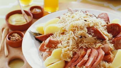 Octoberfest Dishes, choucroute with meat and sauerkraut
