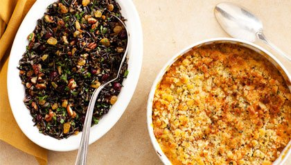 wild rice and sweet potato casserole - vegetarian holiday menu ideas